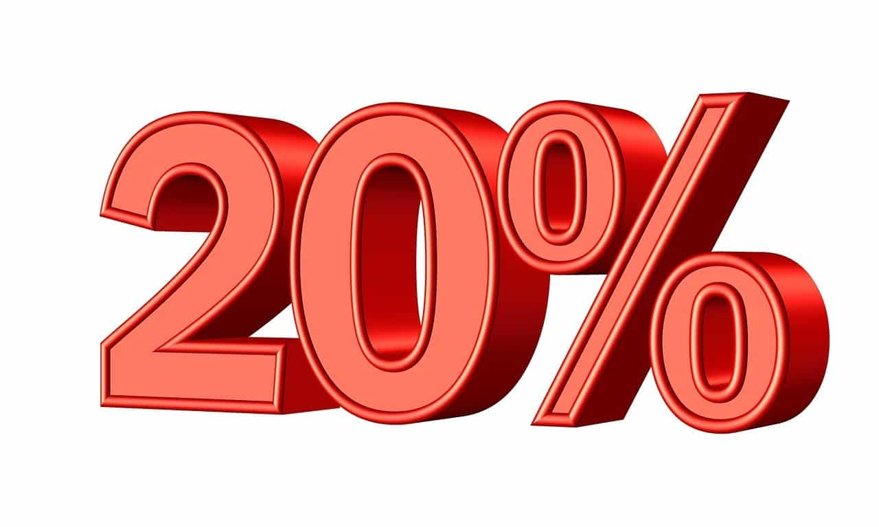 20%, Rabatt